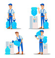 water delivery service man set treatment vector image