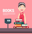 woman with cash box in bookstore books flat vector image vector image
