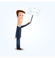 young business man holding signboard vector image