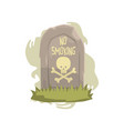 tombstone with skull and bones and no smoking vector image