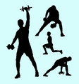 fitness and weight lifting sport silhouettes vector image