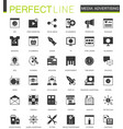 black classic media advertising icons set for web vector image