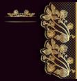 Ornate vintage dark background with golden lace vector image