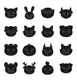 animal muzzle set icons in black style big vector image vector image
