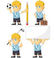 Blonde Rich Boy Customizable Mascot 5 vector image vector image