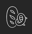 bread and bakery chalk white icon on black vector image vector image