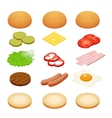 Burger isometric Burger ingredients on white vector image