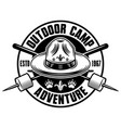 camping monochrome emblem badge label or vector image vector image