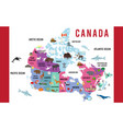 canada map animal flat design vector image