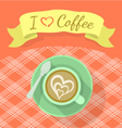 Cappuccino Cup with Ribbon and Inscription vector image vector image