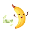 Cheerful Cartoon banana raising his hands vector image