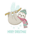 christmas sloth in winter mint hat pink scarf vector image