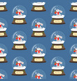 christmas snow globe with rabbit seamless pattern vector image vector image