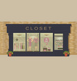 clothing exterior shop with products on shelves vector image