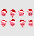 collection christmas pigs with santa hats symbol vector image