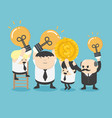 concept happy businessman holding light bulb with vector image vector image