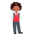 cute african american school boy character vector image vector image