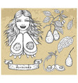 design set with beautiful woman holding avocado vector image