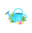 easter composition with blue watering can cute vector image vector image