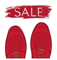 Feet in male shoes on the road Sale vector image