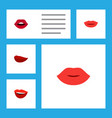 flat icon lips set of laugh teeth lips and other vector image vector image