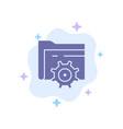 folder setting gear computing blue icon on vector image vector image