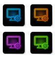 glowing neon computer monitor and gear icon vector image vector image