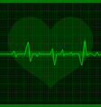 green electrocardiogram waves with heart symbol vector image