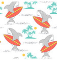 hand drawing shark print design seamless pattern vector image
