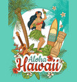 hawaiian woman stand dancing hula surrounded by vector image