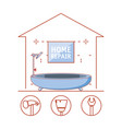 house bathtub with home repair icons vector image vector image