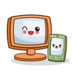 Isolated kawaii computer design vector image vector image