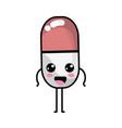kawaii cute happy pill pharmaceutical medicine vector image vector image