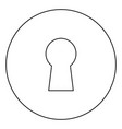 keyhole icon black color in circle vector image