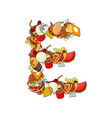 letter e food typography sign from products vector image vector image