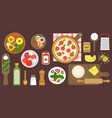 making pizza poster ingredients and utensils vector image vector image