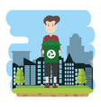 man with recycle can vector image
