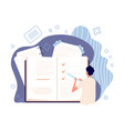 notes concept man planning day notebook vector image