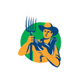 Organic Farmer Pitchfork Chicken Retro vector image vector image