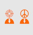 peace sign and target as human heads vector image