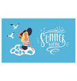 postcard template with woman wearing swimsuit vector image vector image