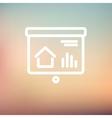 Progression bar on presentation screen thin line vector image vector image