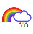 rainbow rain and cloud icon vector image
