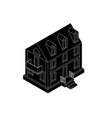 residential house black isometric drawing vector image