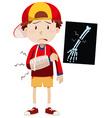 Sad boy with broken arm vector image vector image
