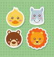 set cute face animals wildlife fauna vector image vector image