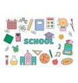 set essential school elements on white vector image
