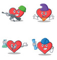 set of heart character with army elf professor vector image vector image