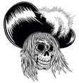 skull in hat with feathers vector image vector image