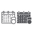 sport schedule line and glyph icon training and vector image vector image